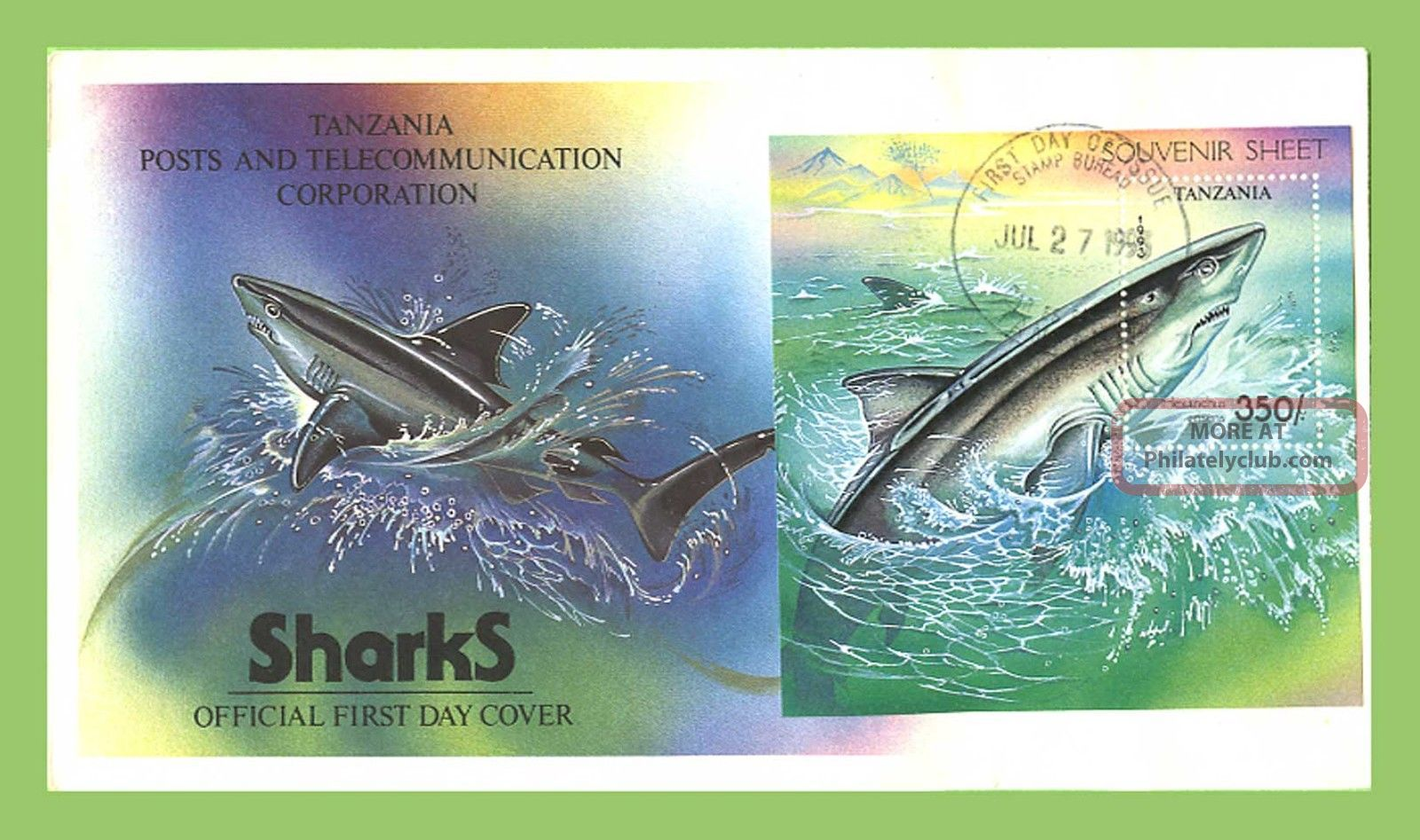 Tanzania 1993 Sharks Miniature Sheet On First Day Cover Africa photo