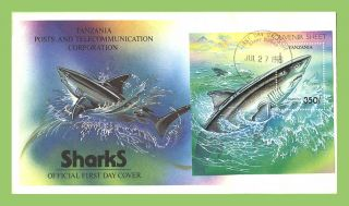 Tanzania 1993 Sharks Miniature Sheet On First Day Cover photo