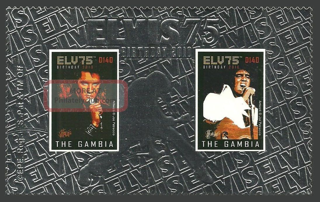 Gambia 2010 Pop Rock Music Elvis 75th Birthday Silver Foil Stamp Africa photo