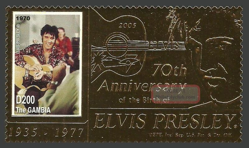 Gambia 2005 Pop Rock Music Elvis 70th Birthday Gold Foil Stamp Africa photo