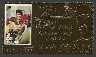 Gambia 2005 Pop Rock Music Elvis 70th Birthday Gold Foil Stamp photo