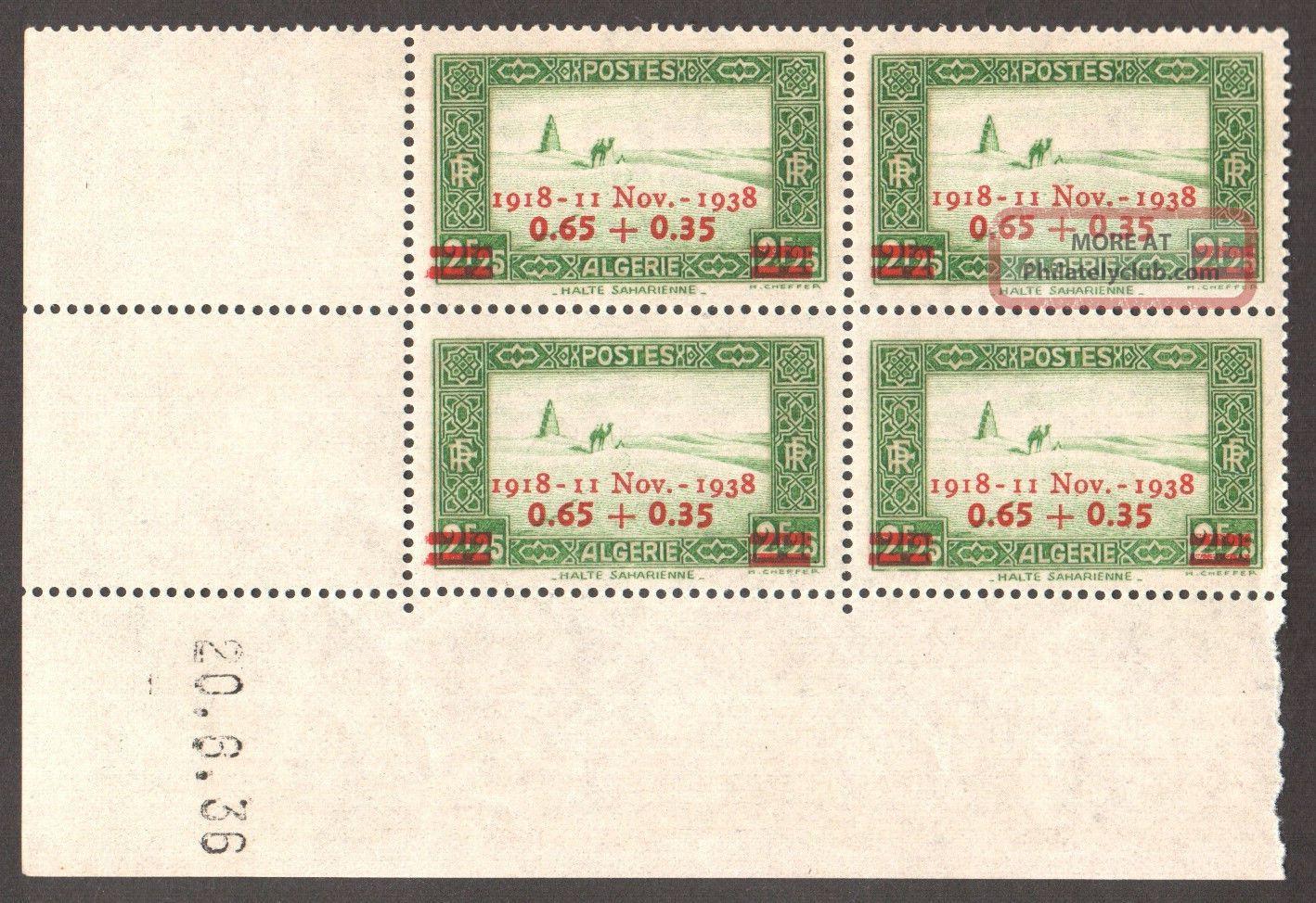 Algeria 1938 - 20th Anniv Of Armstice,  Scott B27 - Dated Block Of 04 Africa photo