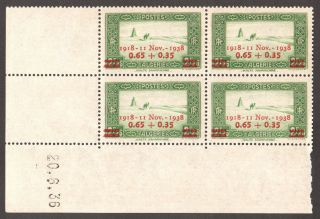 Algeria 1938 - 20th Anniv Of Armstice,  Scott B27 - Dated Block Of 04 photo