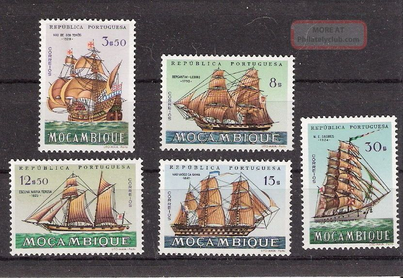 Mozambique 1963 Ships Some High Values (sc 443,  449,  451,  452,  454) Africa photo