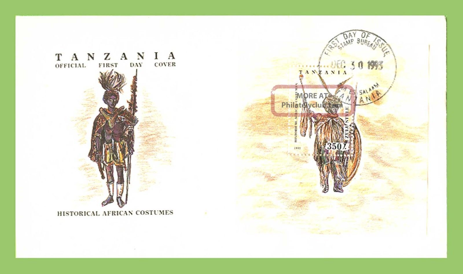 Tanzania 1993 Traditional African Costume Miniature Sheet First Day Cover Africa photo