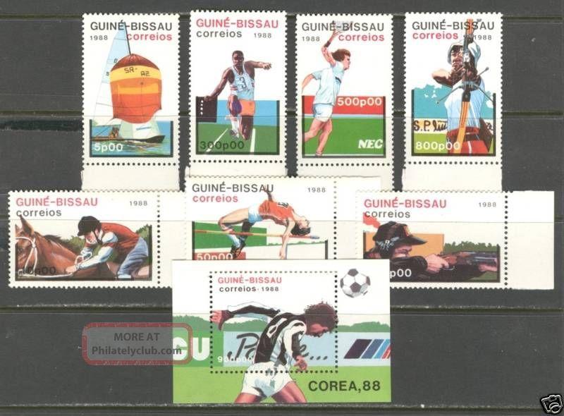 Sports World Soccer Cup ' 88 On Guinea Bissau 1988 Scott 719 - 726 Africa photo