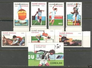 Sports World Soccer Cup ' 88 On Guinea Bissau 1988 Scott 719 - 726 photo