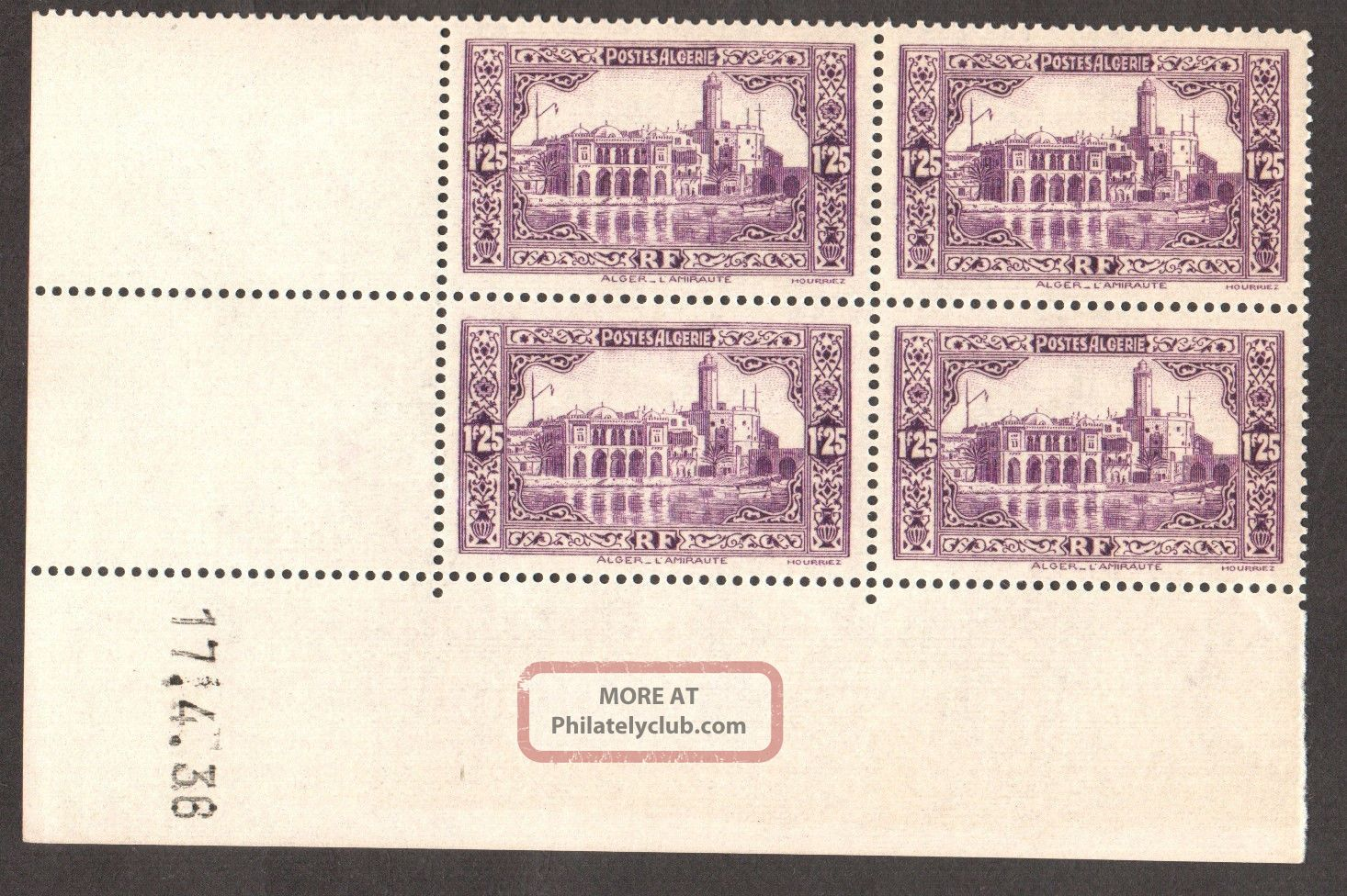 Algeria 1936/41 - Admiralty Building Algiers,  Scott 97 - Dated Block Of 04 Africa photo