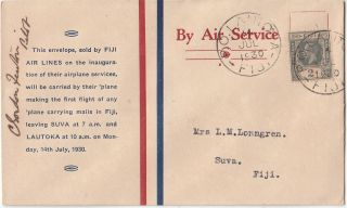 Stamp 1930 Fiji Airlines Souvenir First Flight Cover Lautoka Suva Signed Pilot photo
