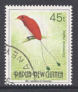 1992 Papua Guinea 45t Bird Of Paradise Inscribed May 1992 Fine Scarce photo
