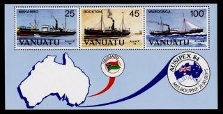 Vanuatu 379a Ships,  Map,  Ausipex84 photo