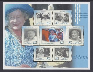 2002 Papua Guinea Queen Mother Memorial Minisheet With 7 Values Muh/mnh photo