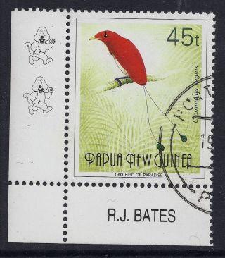 1991 - 93 Papua Guinea 45t Bird Of Paradise With 2 Kapuls & Imprint photo