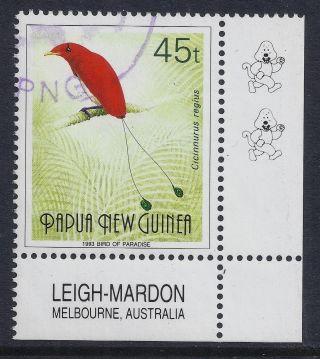 1991 - 93 Papua Guinea 45t Bird Of Paradise With 2 Kapuls & Imprint Fine photo