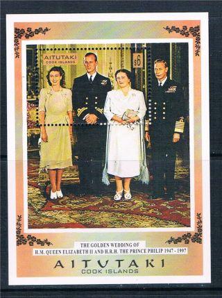 Aitutaki 1997 Queen ' S Golden Wedding Sg Ms 698 photo