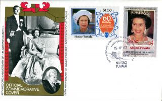 Tuvalu Niutao 1987 Queen 40th Wedding Anniversary $1.  50 & $3.  50 First Day Cover photo