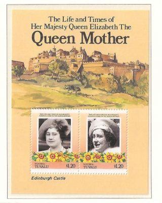 (70334) Tuvalu - Queen Mother Minisheet - Edinburgh Castle - U/m photo