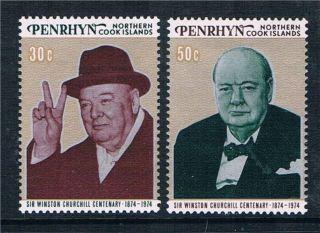 Penrhyn 1974 Birth Cent.  Winston Churchill Sg 76/7 photo