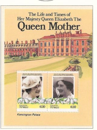 (70343) Tuvalu - Queen Mother Minisheet - Kensington Palace - U/m photo