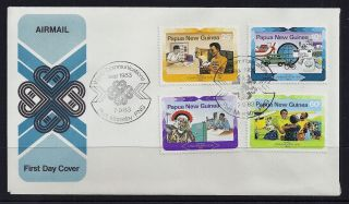 1983 Papua Guinea World Communications Year First Day Cover photo