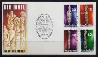 1985 Papua Guinea Nombowai Wood Carvings First Day Cover photo