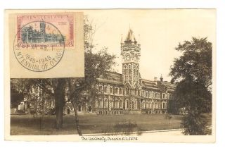 Zealand Otago 1948 Centennial Maxi Stamp Dunedin University Photo Postcard photo