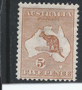 Australia 1913 - 14 5d Chestnut Mm Sg 8 Cat £75 photo