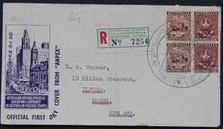 Anpex 1950 Registered Melbourne Exhibition Block Souvenir Cover Pictorial Cachet photo