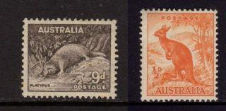 Australia 1943 - 1949,  9d Platypus (sc 174) & 1/2d Kangaroo (sc 166),  Mh photo