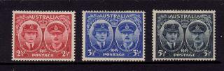 Australia 1945,  Sg 209,  210,  211,  Hrh Gloucester,  2 1/2d,  3 1/2d,  5 1/2d,  Mh photo