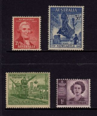 Australia 1947,  Sg 219,  220,  221,  222,  Newcastle & Hrh P.  Elizabeth,  Mh photo
