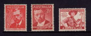 Australia 1948,  Sg 225,  226,  227,  Farrer,  Von Mueller & Scout Jamboree,  Mlh photo
