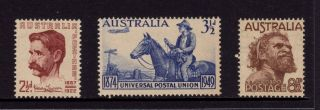 Australia 1949,  Sc 222,  223,  226,  Lawson,  Upu & Aborigine,  Muh photo