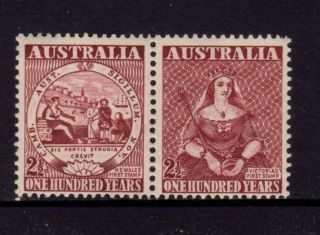 Australia 1950,  Sc 229a,  Sg 239a,  One Hundred Years,  2 1/2p Rose Brown,  Mlh photo
