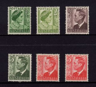 Australia 1950 - 1951,  Sg 236,  237,  237c,  237d,  234,  235 George Vi (kgvi),  Mh photo
