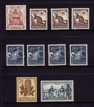 Australia 1957 - 1959,  Sg 296,  316,  319,  325,  331,  Banksia,  Post Office,  Mh photo