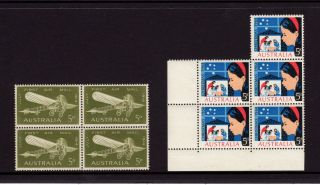 Australia 1964,  Sg 370,  372,  First Air Mail Bleriot,  Christmas,  5d,  Muh photo
