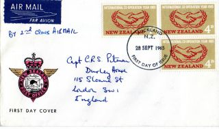 Zealand 28 September 1965 International Cooperation Year First Day Cover Fdi photo