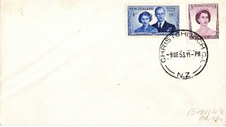 Zealand 9 December 1953 Royal Visit First Day Cover Christchurch Cds photo