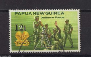 G/fu Nh 1985 Stamp From Papua Guinea Surcharged 12t On 7t Png Defense Force photo