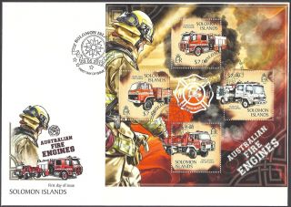 Solomon Islands 2013 Australian Fire Engines & Fire Fighting Sheet 4v Fdc photo
