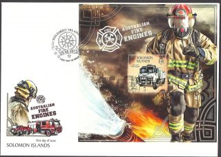 Solomon Islands 2013 Australian Fire Engines & Fire Fighting Souvenir Sheet Fdc photo