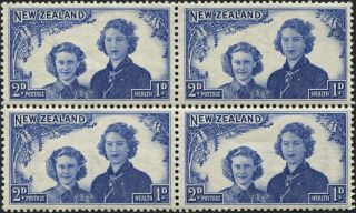 Zealand 1944 (kgvi) 2d+1d Blue Sg664 Cv £1.  20+ Mh Block Of 4 P&p photo