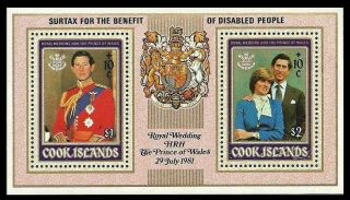 Cook Islands 1981 Royalty Royal Wedding Diana Medical Disabled Overprint photo