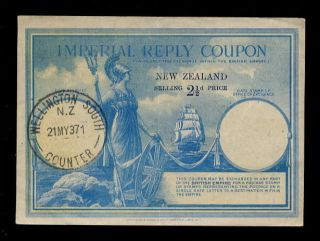 Zealand 1937 Imperial Reply Coupon 2 1/2d photo