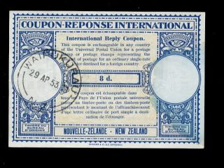 Zealand 1953 Reply Coupon 8d. . .  Waipukurau photo