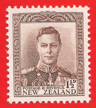 1 1/2d Purple - Brown Stamp 1938 Zealand King George Vi Sg607 photo