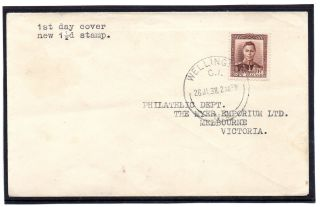 Zealand 1938 1 1/2d Kgvi On Plain Fdc To Victoria.  Sg 607. photo