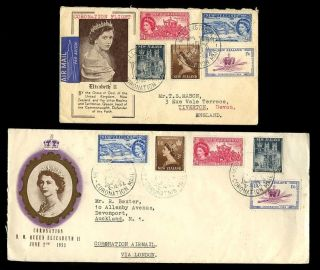 Zealand 1953 Coronation Airmail Flight Fdcs Illustrated. . .  2 Different photo