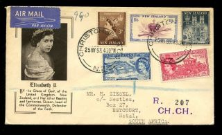 Zealand 1953 Coronation Illustrated Airmail Registered To Natal South Africa photo